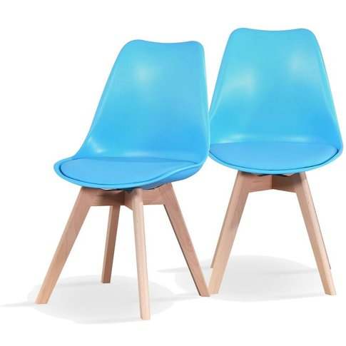 Modern Dining Chairs With Padded Seat X 2 - Blue - R...