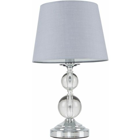 Chrome & Acrylic Ball Touch Dimmer Table Lamp + Grey...
