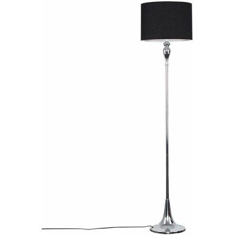 Faulkner Spindle Floor Lamp In Chrome - Black - Minisun