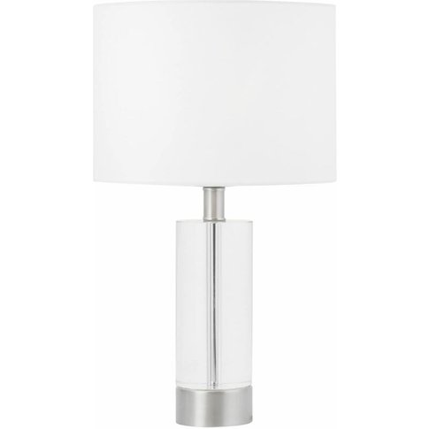 Ingo - 43cm Solid Crystal Table Lamp With White Fabr...