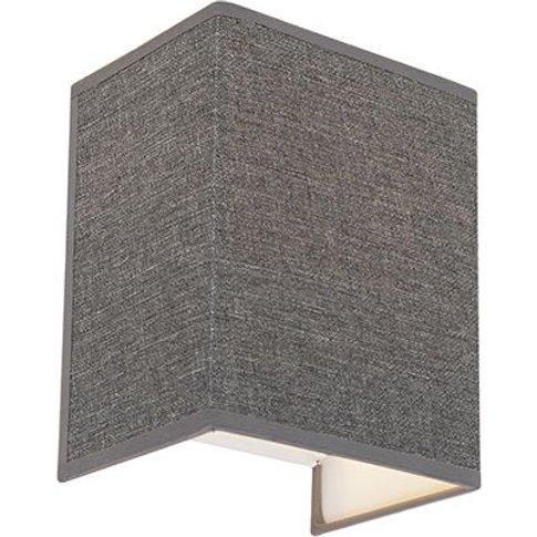 Modern Wall Lamp Jute Grey - Vete - Qazqa