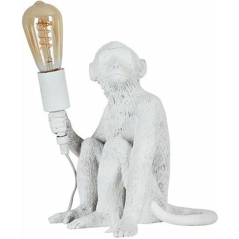 White Painted Monkey Table Lamp + 4w Led Helix Filam...