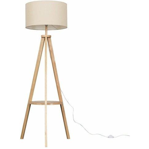 Morrigan Tripod Floor Lamp In Light Wood - Beige - M...