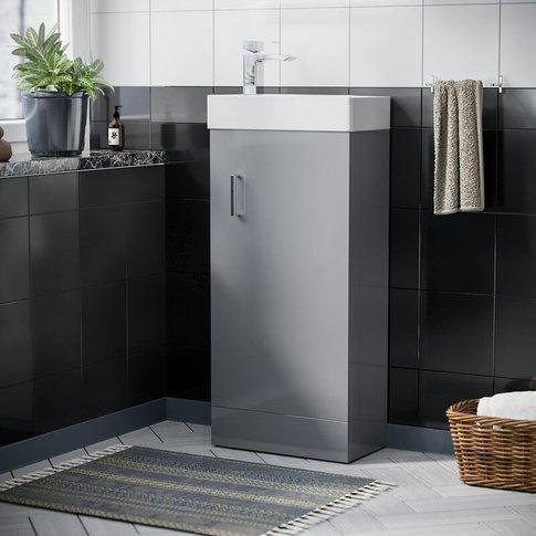 Nanuya Cloakroom 400 Mm Light Grey Basin Vanity Unit...