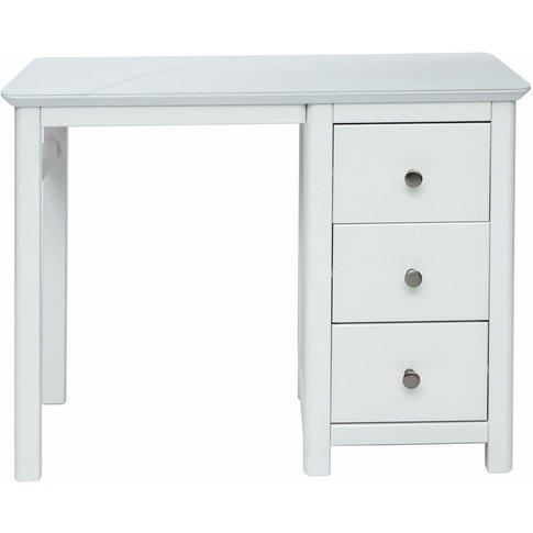 Nel Single Pedestal Dressing Table White Softwood - ...