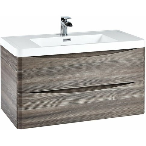 Contour Wall Hung 2-Drawer Vanity Unit With Basin 900mm Wide - Avola Grey - Orbit