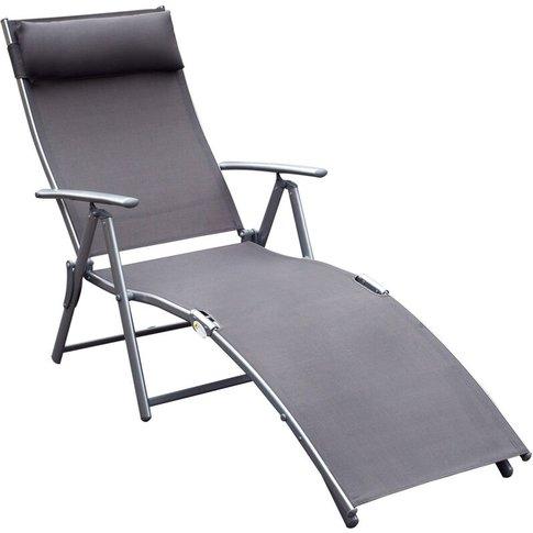 Textilene Sun Lounger Recliner Chair Patio Foldable ...