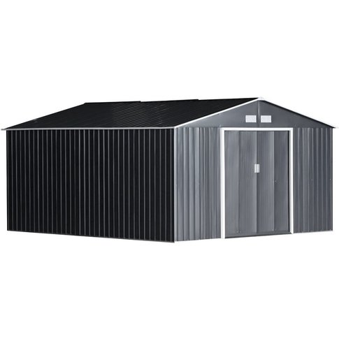 Galvanised Metal Shed Garden Outdoor Storage Unit W/...