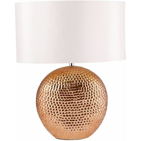 Dimpled Textured Oval Copper Plated Ceramic Bedside ...