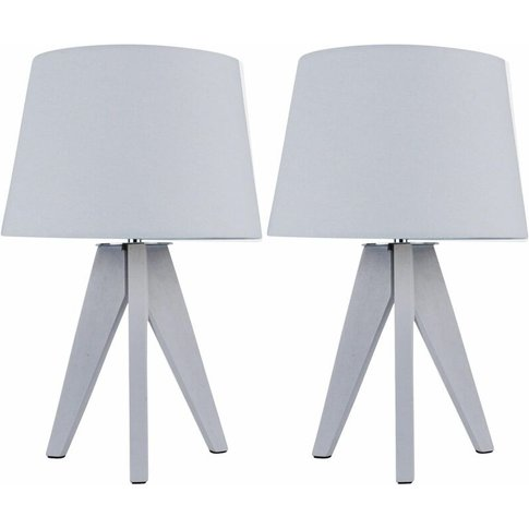 Pair Of Grey Wooden 35c Tripod Lamps With Grey Fabri...