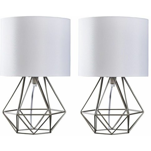 Pair Of Angus Cage Table Lamps - Silver/White - Minisun