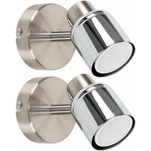 Pair Of Ceiling/Wall Spotlights - Chrome - Minisun