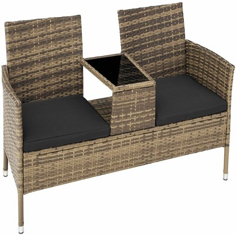 Tectake - Garden Bench With Table Poly Rattan - Love...