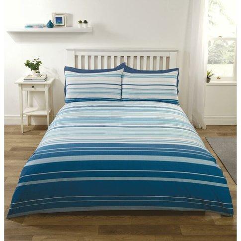 Stratford Stripe Blue Duvet Set, Easy Care Single - ...
