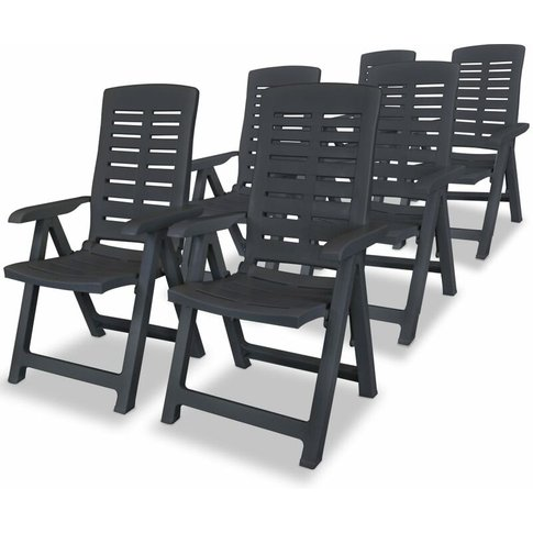 Reclining Garden Chairs Plastic Anthracite 6 Pcs - V...