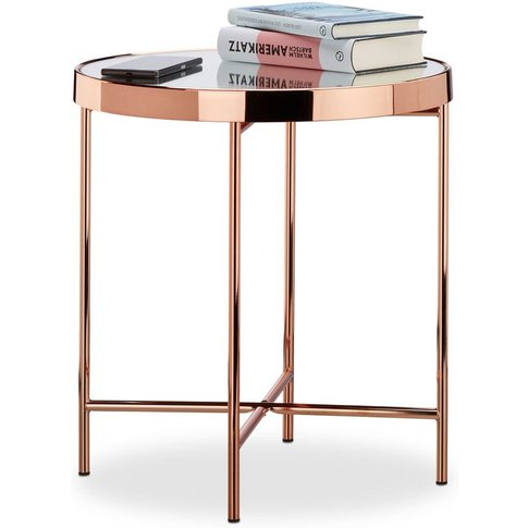 Copper Side Table, Mirrored Glass, End Table, Elegan...