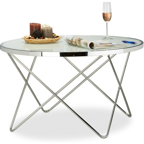 Relaxdays Large Glass Side Table, Chrome, Frosted Gl...