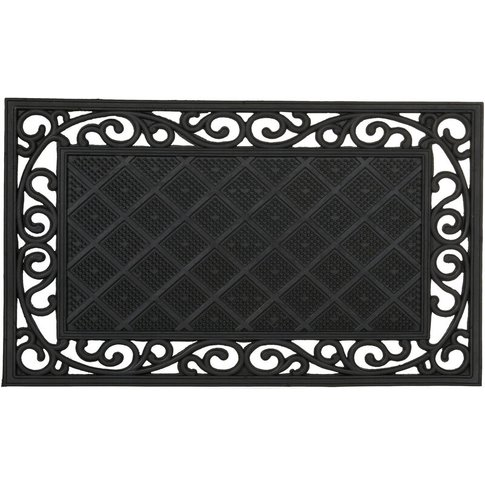 Rubber Anti-Slip Doormat With Floral Pattern In Cast...