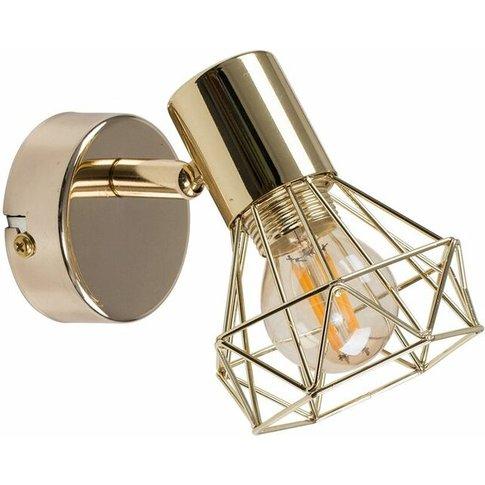 Metal Basket Cage Wall Light - Polished Gold - Minisun