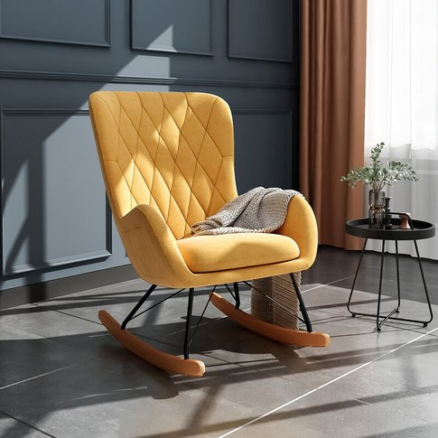 Rhombus Linen Rocking Chair Armchair With Pocket, Ye...