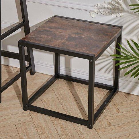 Livingandhome - Rustic Brown Wood Sofa Side Table En...
