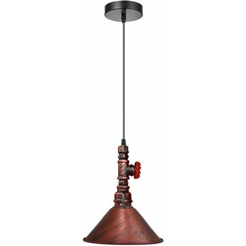 Rustic Red Industrial Vintage Brushed Lamp Pendant L...