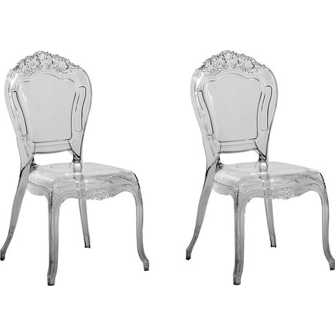 Set Of 2 Accent Chairs Acrylic Transparent Black Ver...