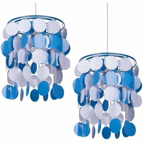2 X Blue And White Easy Fit Light Shade - First Choi...