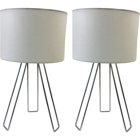 Set Of 2 Chrome Tripod Table Lights With White Cotto...