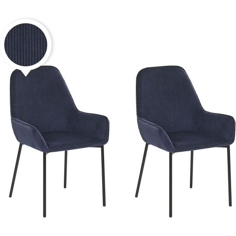Set Of 2 Corduroy Dining Chairs Blue Loverna - Beliani