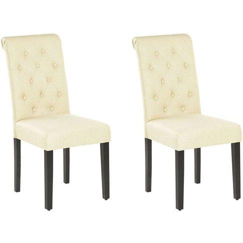 Set Of 2 Dining Chairs Cream Velva - Beliani