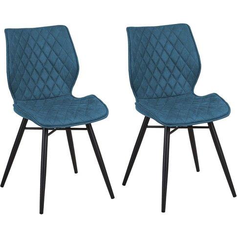 Set Of 2 Fabric Dining Chairs Blue Lisle - Beliani