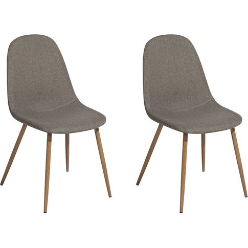 Set Of 2 Fabric Dining Chairs Taupe Bruce - Beliani
