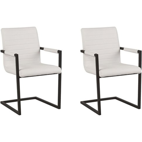 Set Of 2 Faux Leather Dining Chairs Off-White Buford...