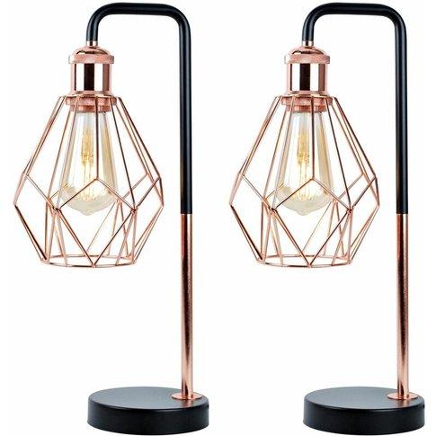 Set Of 2 Matt Black & Copper Geometric Table Lamps - First Choice Lighting