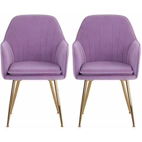Set Of 2 Velvet With Pad Dining Chairs, Purple - Liv...