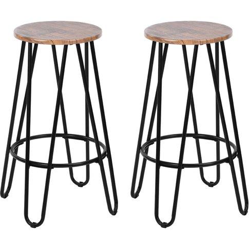 Set Of 2 Scandinavian Wooden Barstool Bar Chairs Cou...