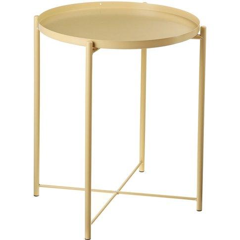 Side Table Metal Coffee Table 53cmx42cm Gold - Augienb