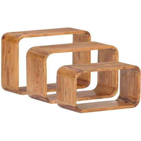 Vidaxl - Side Tables 3 Pcs Solid Acacia Wood Sheesha...
