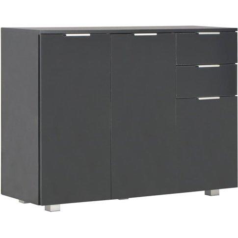 Sideboard 107x35x76 Cm High Gloss Black - Vidaxl