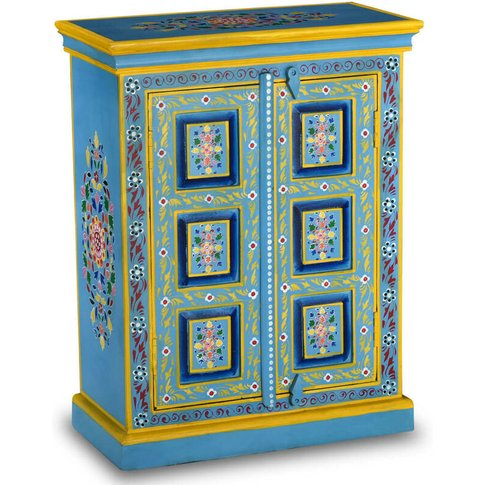 Sideboard Solid Mango Wood Turquoise Hand Painted - ...