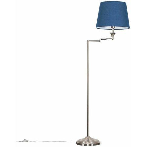 Sinatra Swing Arm Floor Lamp In Brushed Chrome - Blue - Minisun