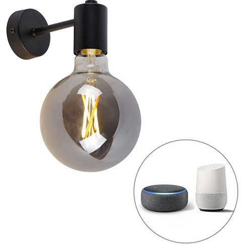 Smart Wall Lamp Black Incl. Wifi G125 Smoke Glass - ...