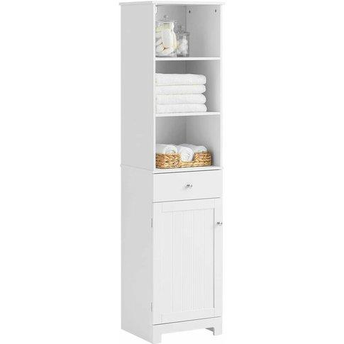 White Floor Standing Tall Bathroom Storage Cabinet W...