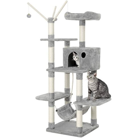 Songmics - Feandrea Cat Tree Cat Scratcher Activity Centres Scratching Post With A Hammock Light Grey By Pct86w