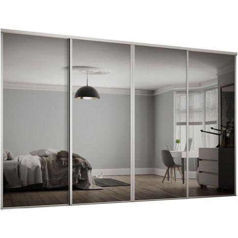 4x610mm Hertiage White Framed Mirror Sliding Doors H...