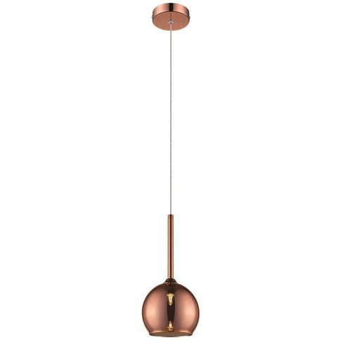 1 Light Dome Ceiling Pendant Copper With Glass Shade...