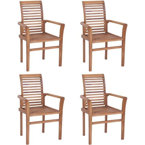 Stacking Dining Chairs Solid Teak 4 Pcs - Vidaxl