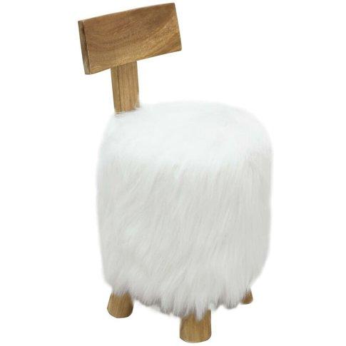 Stool White Solid Teak Wood - Vidaxl