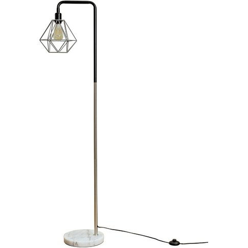 Talisman Marble Base Floor Lamp In Brushed Chrome Wi...